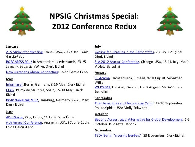 NPSIG Christmas Special:                           2012 Conference ReduxJanuary                                           ...