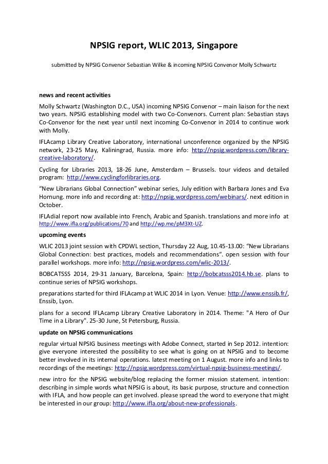 NPSIG report, WLIC 2013, Singapore submitted by NPSIG Convenor Sebastian Wilke & incoming NPSIG Convenor Molly Schwartz ne...