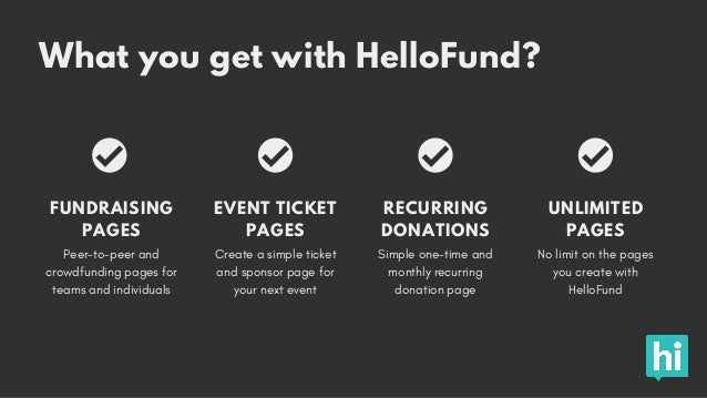 What you get with HelloFund? Peer-to-peer and crowdfunding pages for teams and individuals FUNDRAISING PAGES Create a simp...