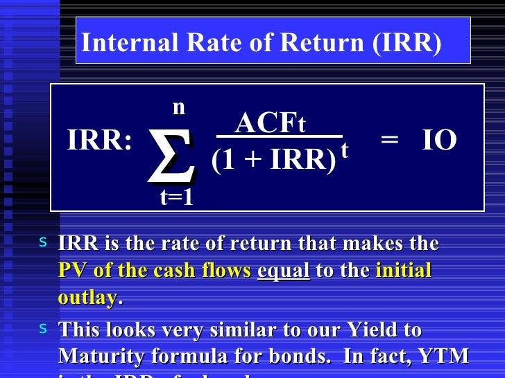 formula for calculating irr manually
