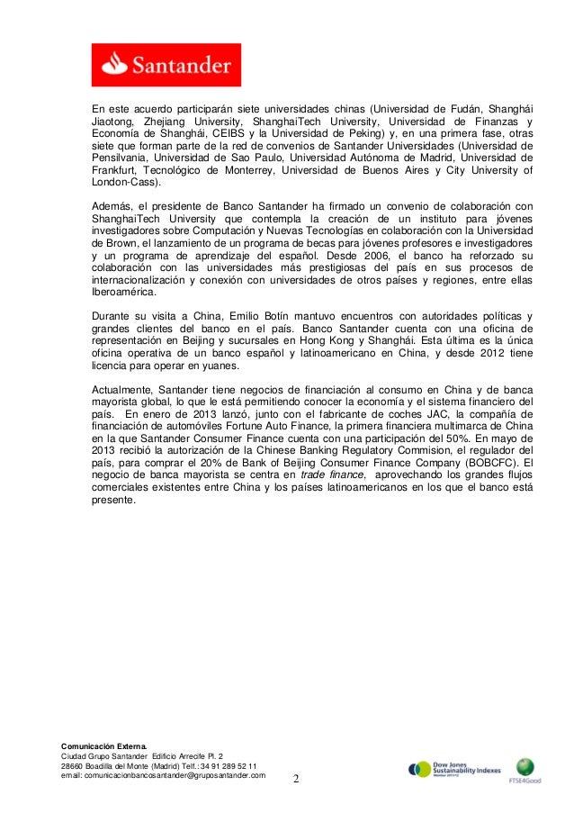 Banco Santander refuerza su colaboración con Bank of Shanghái y su apuesta por las universidades chinas Slide 2