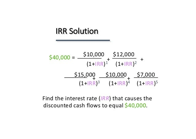 net present value irr and the Internal rate of return (irr) what it is: internal rate of return (irr) is the interest rate at which the net present value of all the cash flows (both positive and negative) from a project or investment equal zero.
