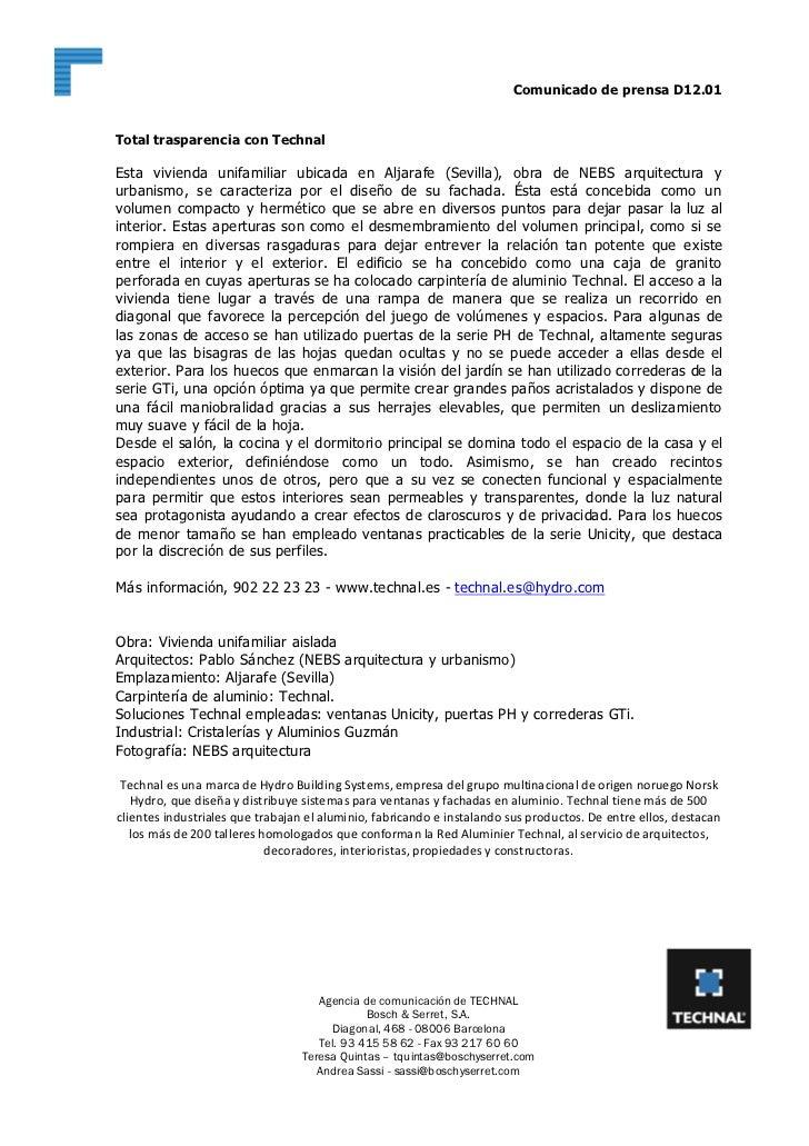 Comunicado de prensa D12.01Total trasparencia con TechnalEsta vivienda unifamiliar ubicada en Aljarafe (Sevilla), obra de ...