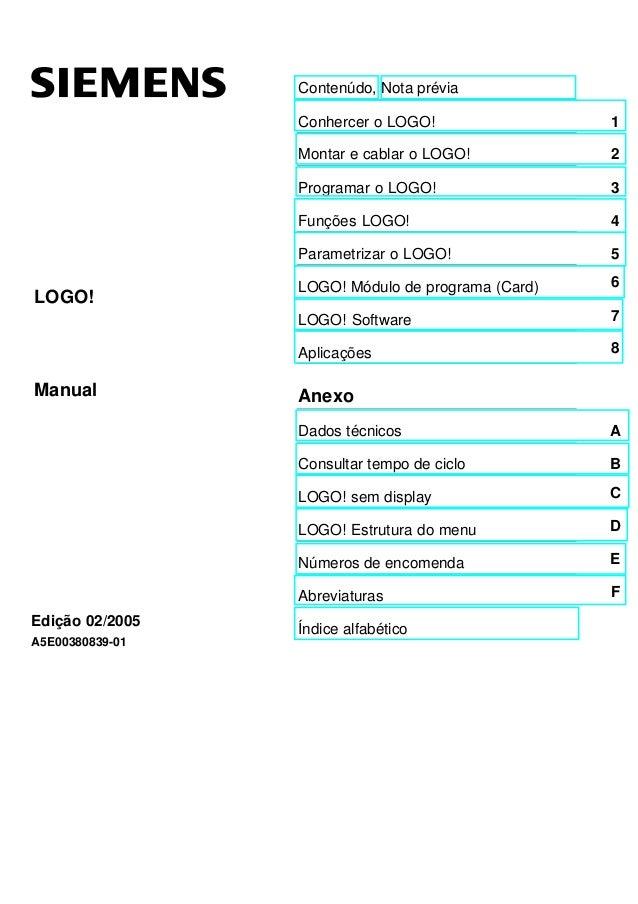 Contenúdo, Nota prévia Conhercer o LOGO! 1 Montar e cablar o LOGO! 2 Programar o LOGO! 3 Funções LOGO! 4 Parametrizar o LO...