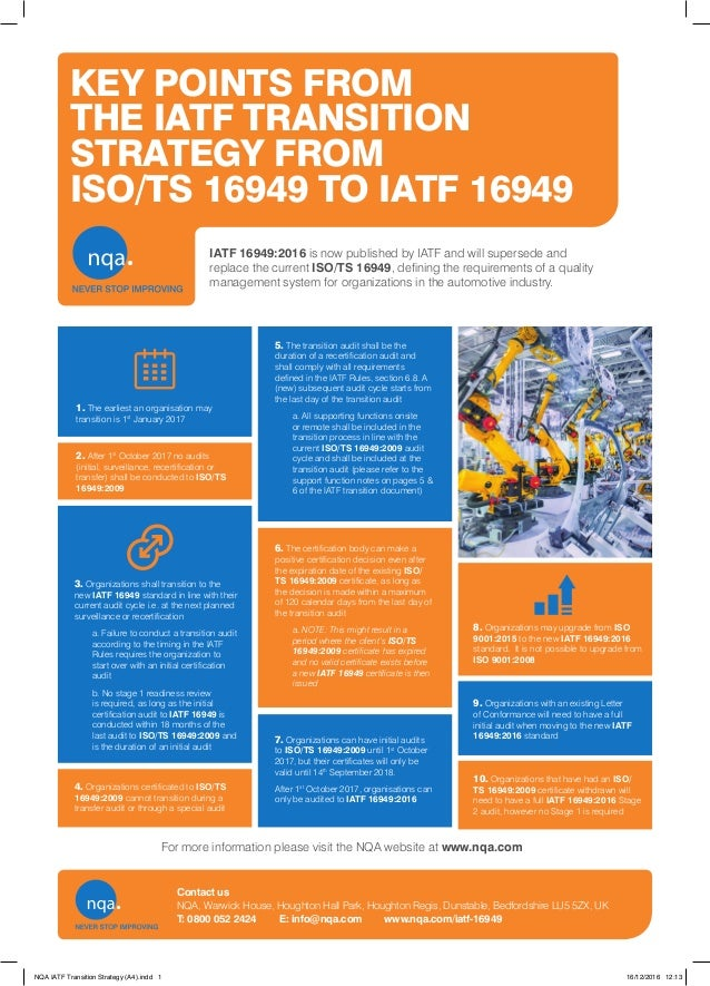Key Points From The Iatf Transition Strategy Iso 16949 To