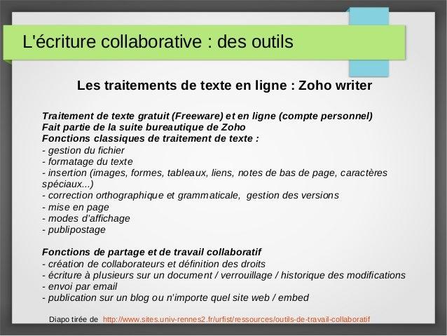 L'écriture collaborative : des outils Les traitements de texte en ligne : Zoho writer Traitement de texte gratuit (Freewar...