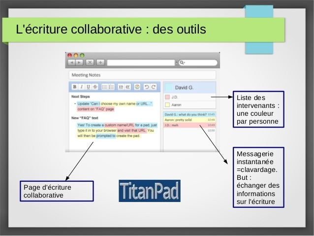 L'écriture collaborative : des outils Les pads : Titanpad Liste des intervenants : une couleur par personne Messagerie ins...