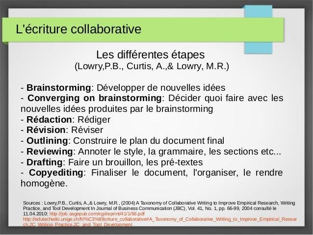L'écriture collaborative Les différentes étapes (Lowry,P.B., Curtis, A.,& Lowry, M.R.) - Brainstorming: Développer de nouv...