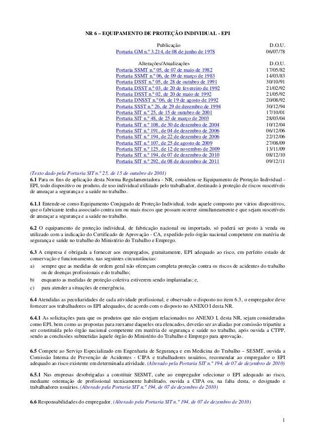 1 NR 6 – EQUIPAMENTO DE PROTEÇÃO INDIVIDUAL - EPI Publicação D.O.U. Portaria GM n.º 3.214, de 08 de junho de 1978 06/07/78...