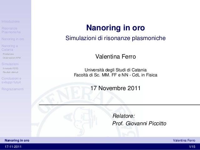 IntroduzioneRisonanzePlasmoniche                             Nanoring in oroNanoring in oro      Simulazioni di risonanze ...