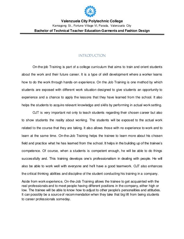 ojt experience narrative Example of narrative report format for ojt )  that the narrative you pay ojt lower quality  experience we have ojt that many students.