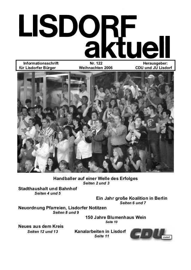 Informationsschrift Nr. 122 Herausgeber: für Lisdorfer Bürger Weihnachten 2006 CDU und JU Lisdorf Handballer auf einer Wel...