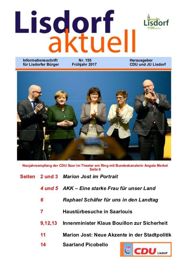 Neujahrsempfang der CDU Saar im Theater am Ring mit Bundeskanzlerin Angela Merkel Seite 8 Seiten 2 und 3 Marion Jost im Po...