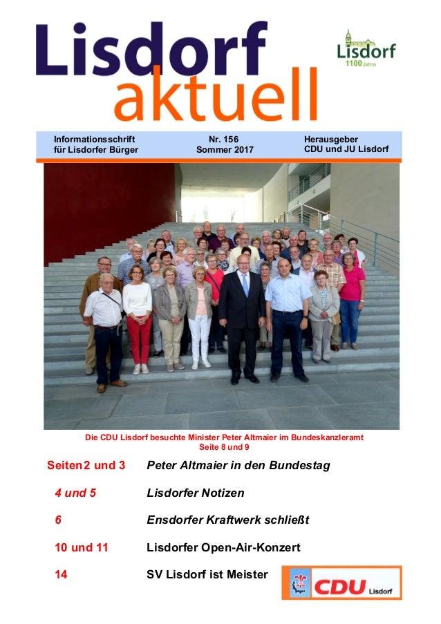 Die CDU Lisdorf besuchte Minister Peter Altmaier im Bundeskanzleramt Seite 8 und 9 Seiten2 und 3 Peter Altmaier in den Bun...