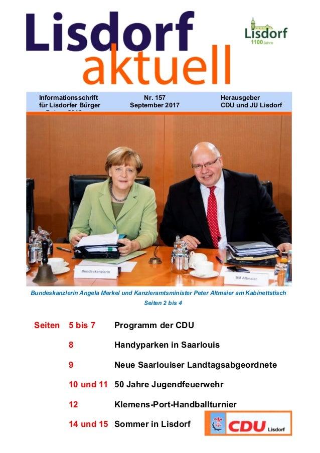Bundeskanzlerin Angela Merkel und Kanzleramtsminister Peter Altmaier am Kabinettstisch Seiten 2 bis 4 Seiten 5 bis 7 Progr...