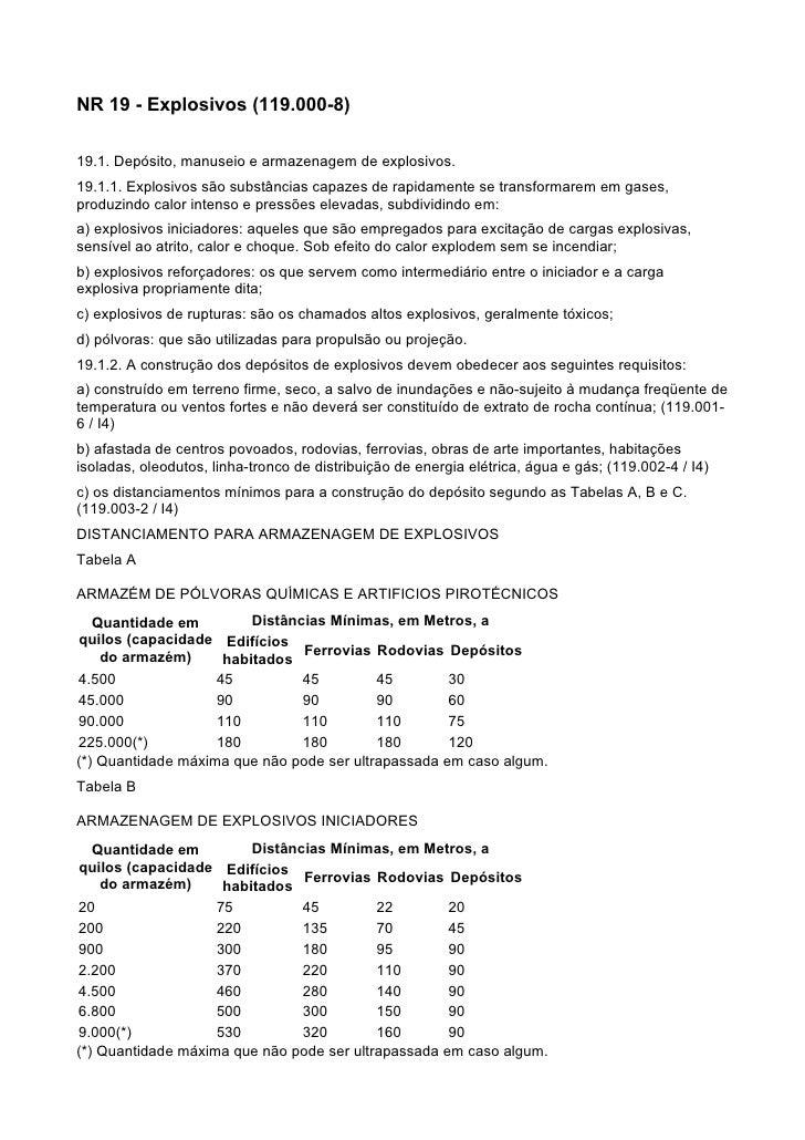 NR 19 - Explosivos (119.000-8)  19.1. Depósito, manuseio e armazenagem de explosivos. 19.1.1. Explosivos são substâncias c...