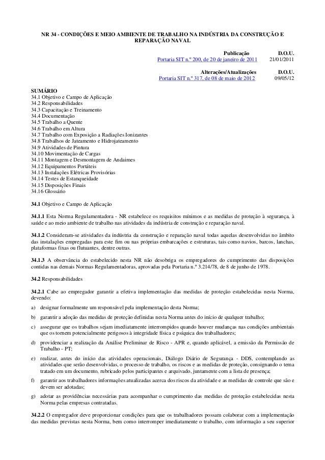 NR 34 - CONDIÇÕES E MEIO AMBIENTE DE TRABALHO NA INDÚSTRIA DA CONSTRUÇÃO E                                   REPARAÇÃO NAV...