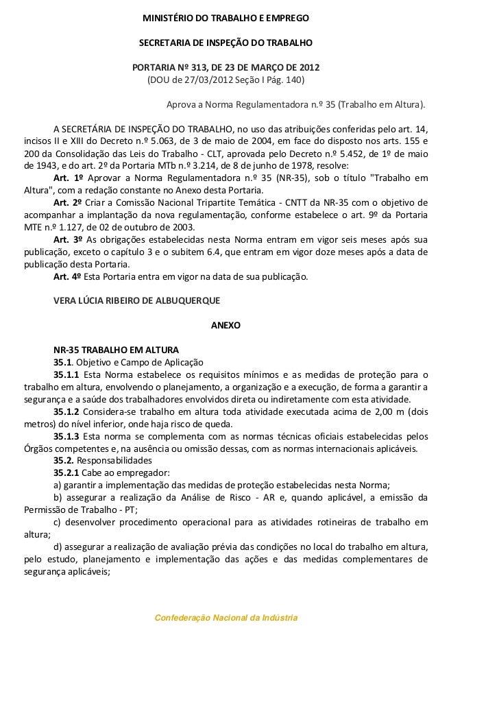 MINISTÉRIO DO TRABALHO E EMPREGO                            SECRETARIA DE INSPEÇÃO DO TRABALHO                          PO...