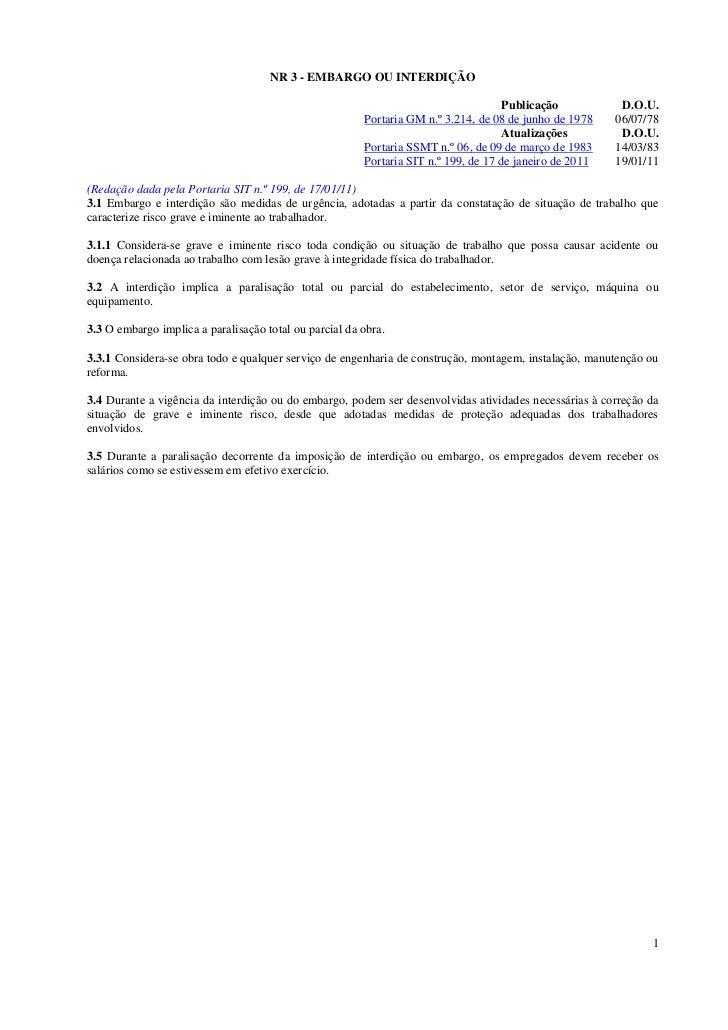 NR 3 - EMBARGO OU INTERDIÇÃO                                                                                     Publicaçã...