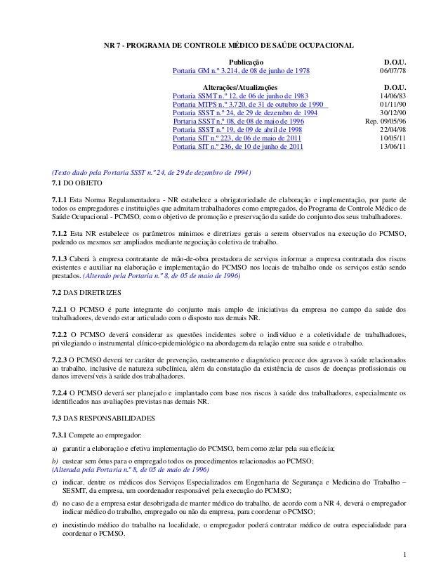 NR 7 - PROGRAMA DE CONTROLE MÉDICO DE SAÚDE OCUPACIONAL                                                          Publicaçã...