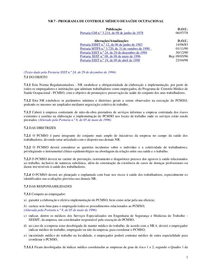 NR 7 - PROGRAMA DE CONTROLE MÉDICO DE SAÚDE OCUPACIONAL                                                           Publicaç...