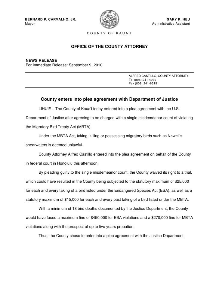 OFFICE OF THE COUNTY ATTORNEY<br />NEWS RELEASE<br />For Immediate Release: September 9, 2010<br />ALFRED CASTILLO, COUNTY...