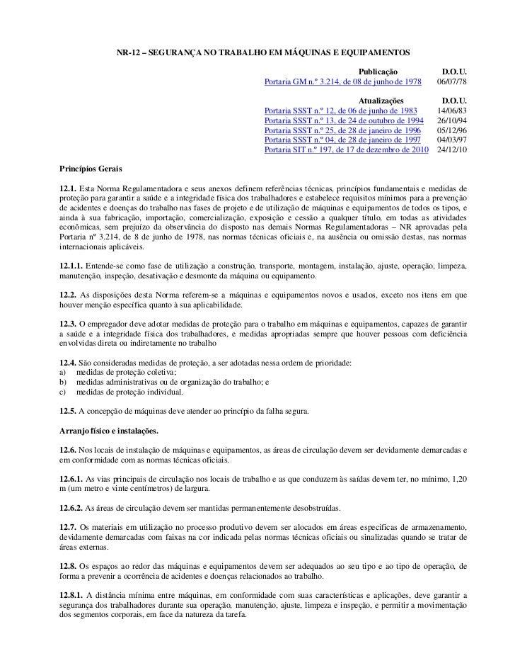 NR-12 – SEGURANÇA NO TRABALHO EM MÁQUINAS E EQUIPAMENTOS                                                                  ...