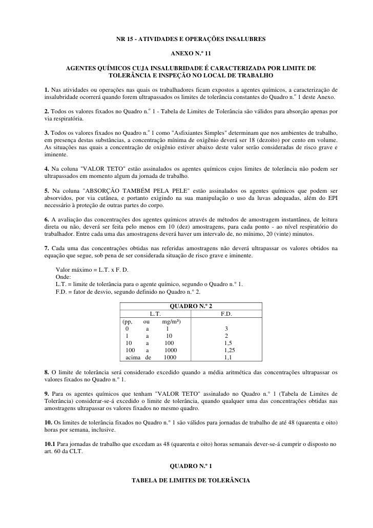 NR 15 - ATIVIDADES E OPERAÇÕES INSALUBRES                                                     ANEXO N.º 11          AGENTE...