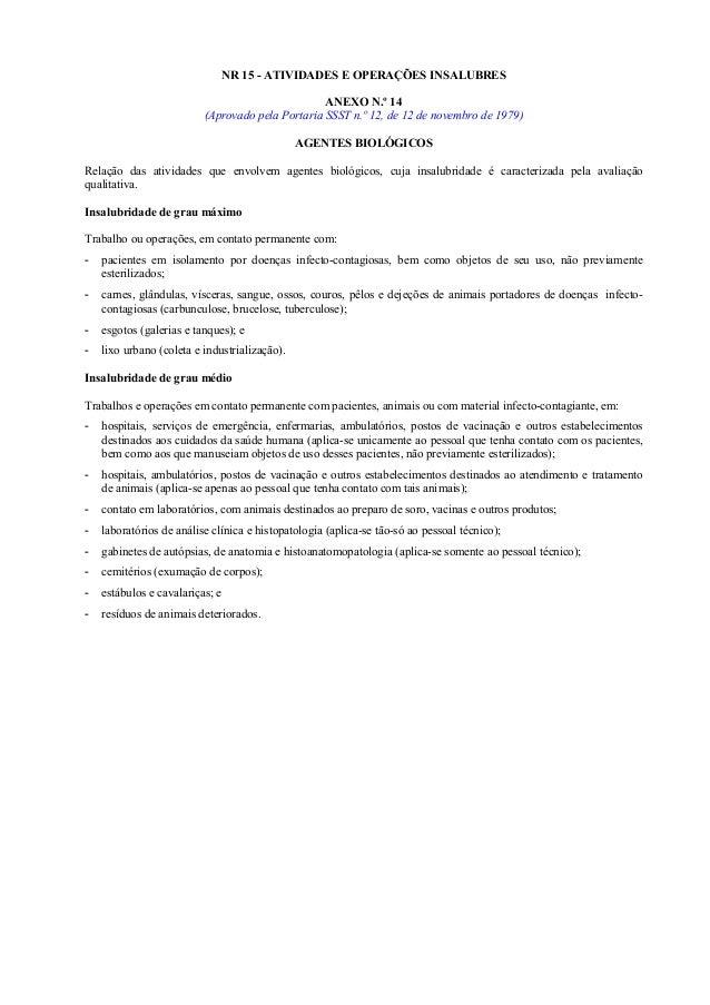 NR 15 - ATIVIDADES E OPERAÇÕES INSALUBRES ANEXO N.º 14 (Aprovado pela Portaria SSST n.º 12, de 12 de novembro de 1979) AGE...