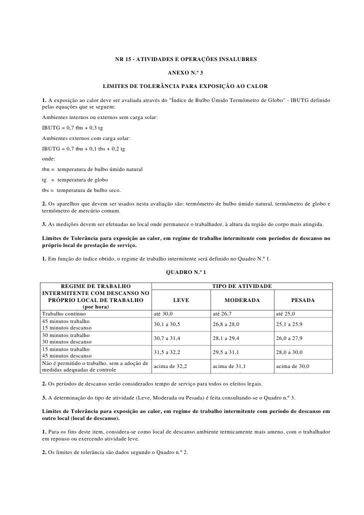 NR 15 - ATIVIDADES E OPERAÇÕES INSALUBRES                                                      ANEXO N.º 3                ...