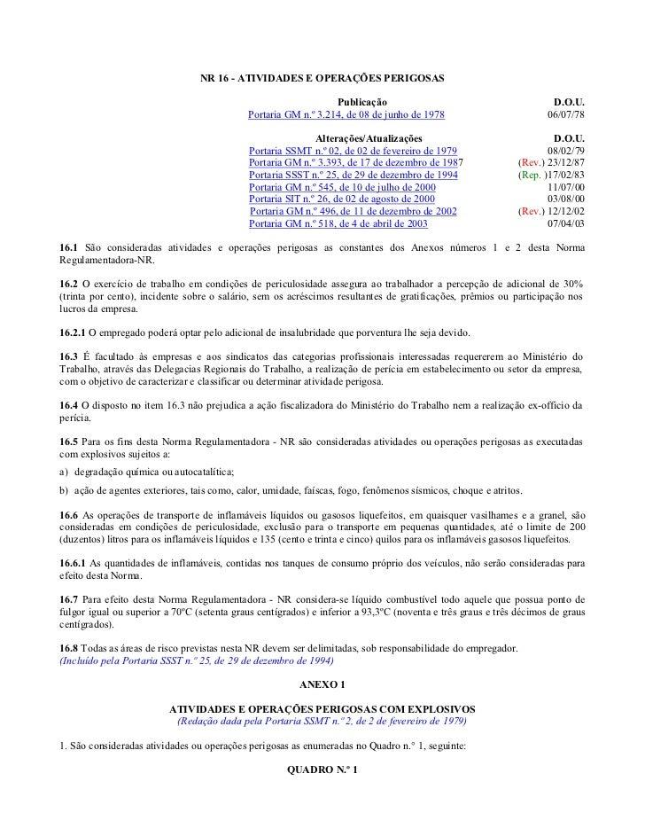 NR 16 - ATIVIDADES E OPERAÇÕES PERIGOSAS                                                                Publicação        ...