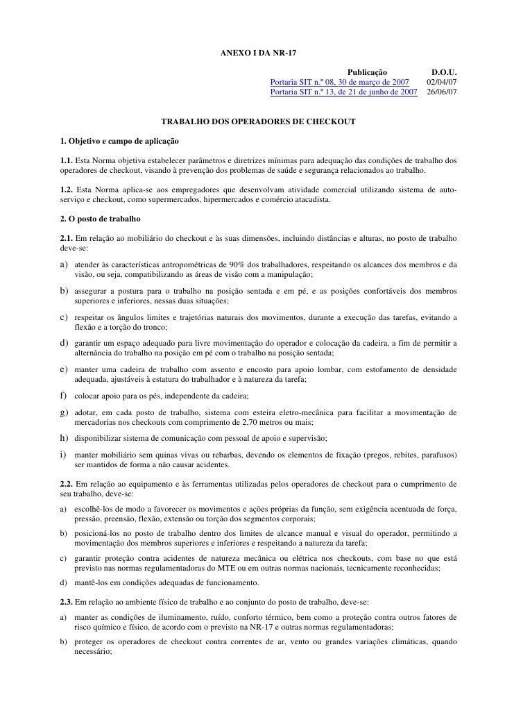 ANEXO I DA NR-17                                                                                         Publicação       ...
