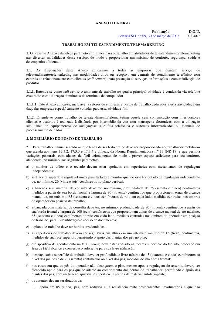 ANEXO II DA NR-17                                                                                      Publicação         ...