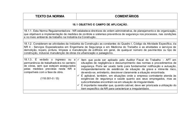 TEXTO DA NORMA COMENTÁRIOS 18.1 OBJETIVO E CAMPO DE APLICAÇÃO. 18.1.1. Esta Norma Regulamentadora - NR estabelece diretriz...
