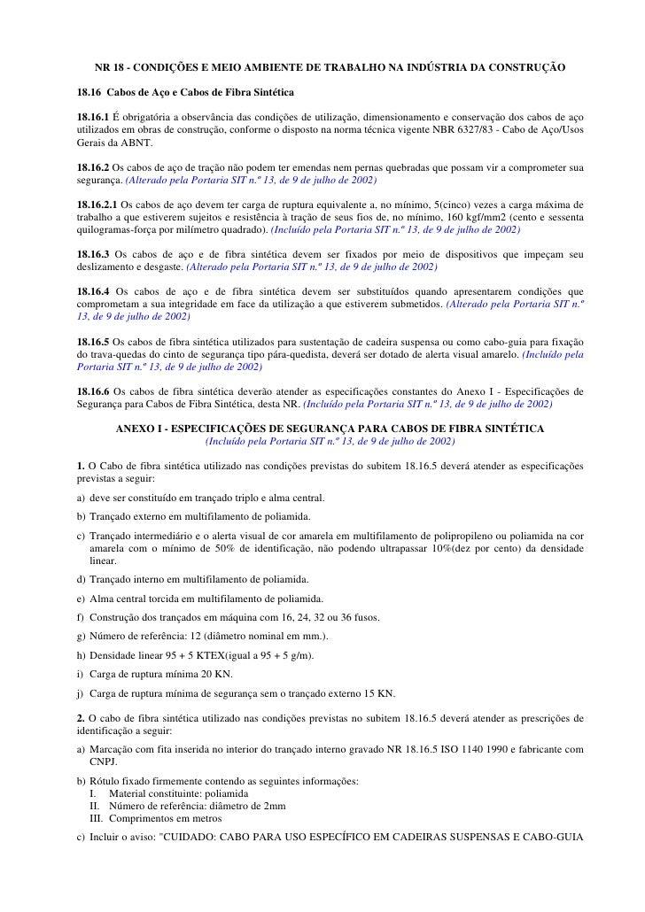 NR 18 - CONDIÇÕES E MEIO AMBIENTE DE TRABALHO NA INDÚSTRIA DA CONSTRUÇÃO  18.16 Cabos de Aço e Cabos de Fibra Sintética  1...