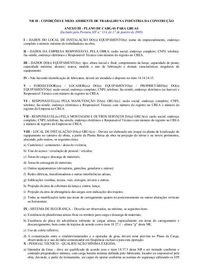 NR 18 - CONDIÇÕES E MEIO AMBIENTE DE TRABALHO NA INDÚSTRIA DA CONSTRUÇÃO ANEXO III - PLANO DE CARGAS PARA GRUAS (Incluído ...