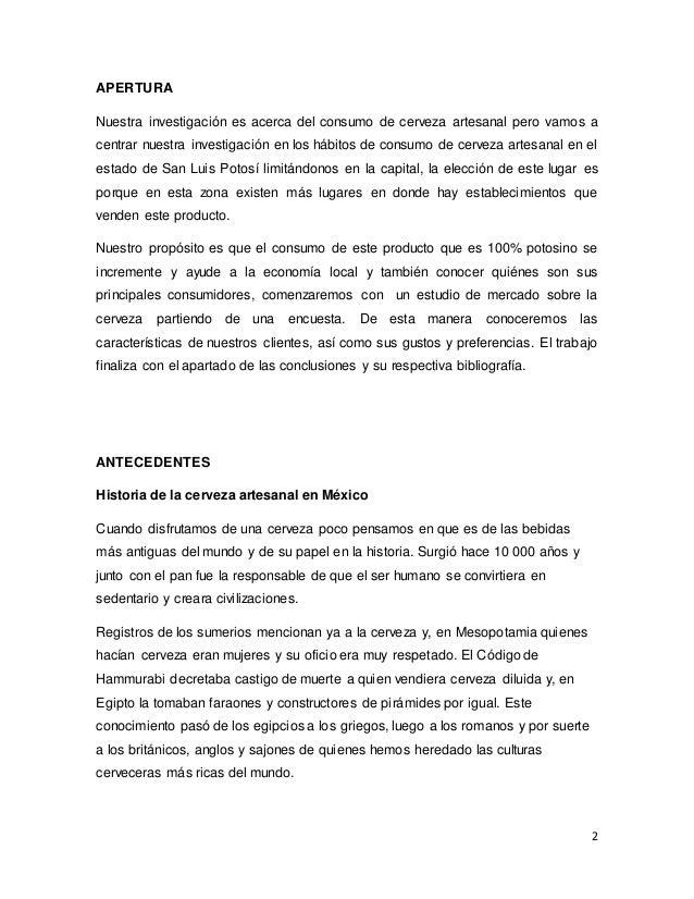 Marco Teórico Cerveza Artesanal en SLP