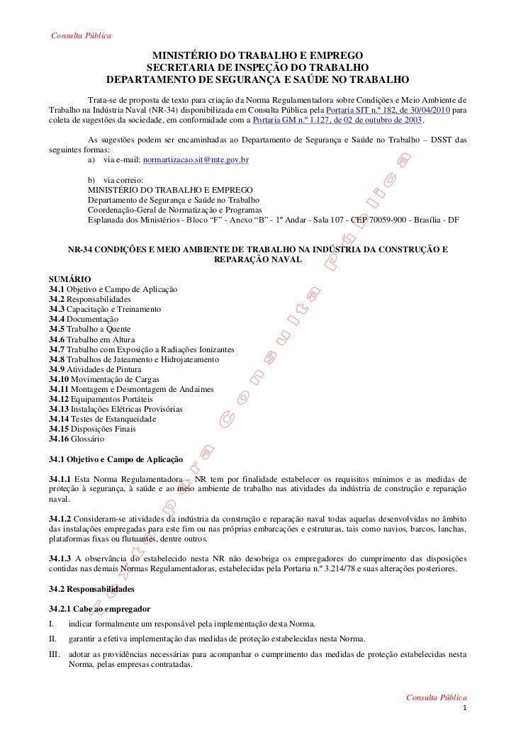 Consulta Pública                       MINISTÉRIO DO TRABALHO E EMPREGO                      SECRETARIA DE INSPEÇÃO DO TRA...