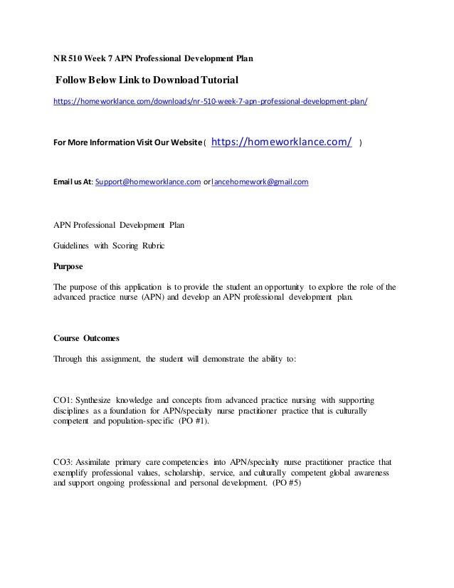 Nr 510 week 7 apn professional development plan