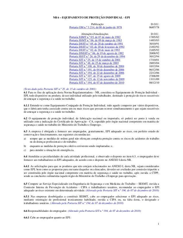 0d28ee8ad46ff 1 NR 6 – EQUIPAMENTO DE PROTEÇÃO INDIVIDUAL - EPI Publicação D.O.U.  Portaria GM n. ...