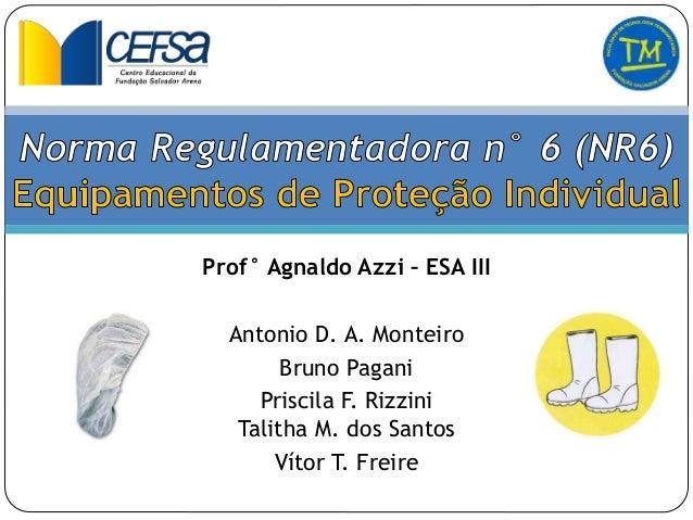 Prof° Agnaldo Azzi – ESA III Antonio D. A. Monteiro Bruno Pagani Priscila F. Rizzini Talitha M. dos Santos Vítor T. Freire