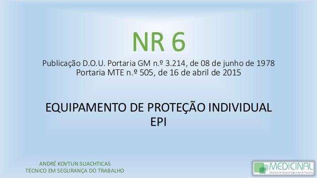80b7f2b7f0442 NR 6 Publicação D.O.U. Portaria GM n.