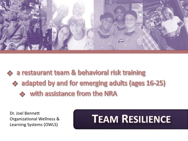 a restaurant team & behavioral risk training<br />   adapted by and for emerging adults (ages 16-25)  <br />        with a...