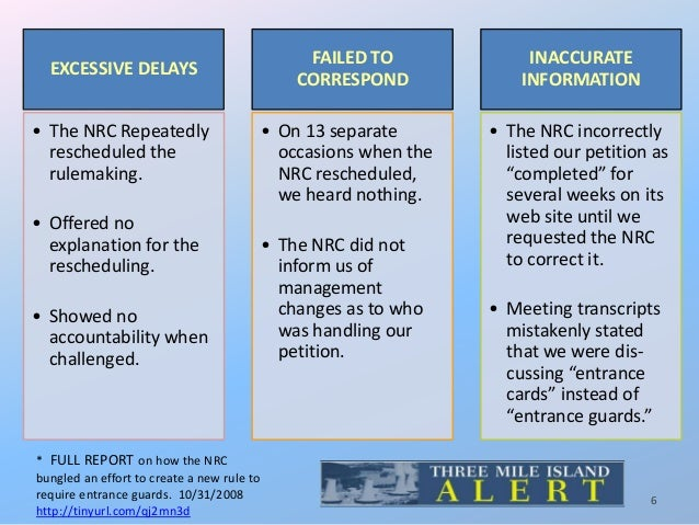 EXCESSIVE DELAYS • The NRC Repeatedly rescheduled the rulemaking. • Offered no explanation for the rescheduling. • Showed ...