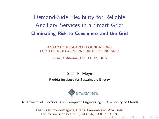 Demand-Side Flexibility for Reliable Ancillary Services in a Smart Grid: Eliminating Risk to Consumers and the Grid ANALYT...
