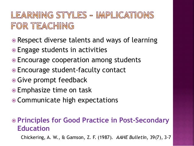 the implications of learning styles and Full-text paper (pdf): adult learning styles: implications for practice teaching in social work.