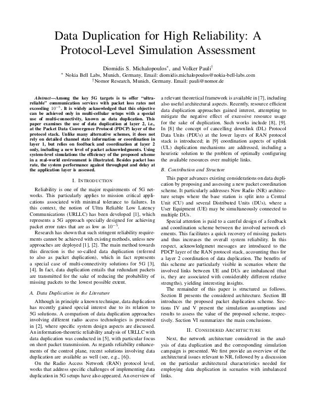 Data Duplication for High Reliability: A Protocol-Level Simulation Assessment Diomidis S. Michalopoulos∗, and Volker Pauli...