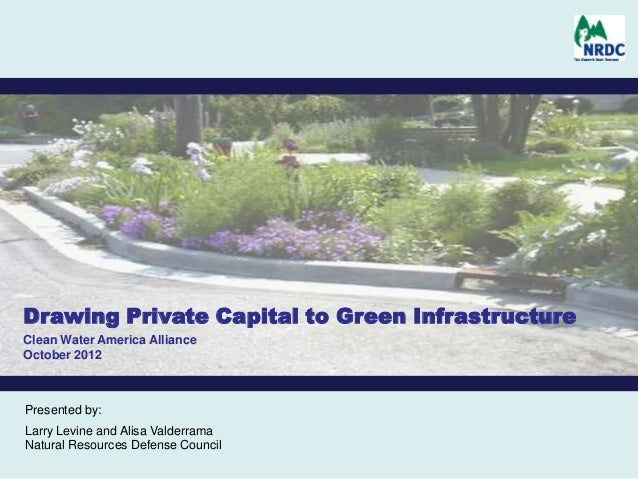 Drawing Private Capital to Green InfrastructureClean Water America AllianceOctober 2012Presented by:Larry Levine and Alisa...