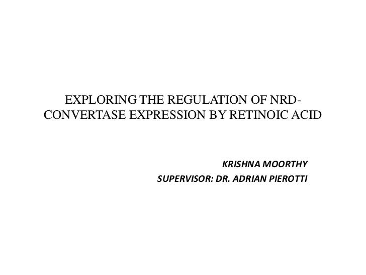 EXPLORING THE REGULATION OF NRD-CONVERTASE EXPRESSION BY RETINOIC ACID<br />KRISHNA MOORTHY<br />SUPERVISOR: DR. ADRIAN PI...