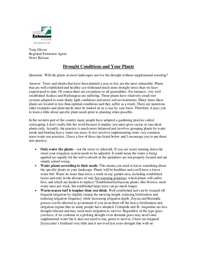 Tony GloverRegional Extension AgentNews Release                        Drought Conditions and Your PlantsQuestion: Will th...